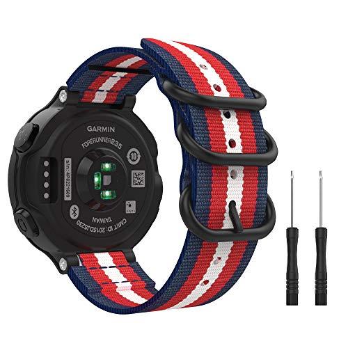 MoKo Bracelet Compatible avec Garmin Forerunner 235/220 / 230/620 / 630 / 735XT, Bracelet en Nylon Tissé Bracelet de Remplacement pour Garmin Forerunner 235 - Bleu + Rouge + Beige