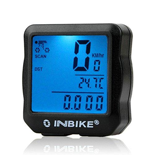 GuDoQi Vélètre De Vélo Ordinateur De Vélo Imperméable À L'Eau Compteur Kilométrique Rétro-Éclairage LCD Type Noir Avec Rétro-Éclairage Bleu