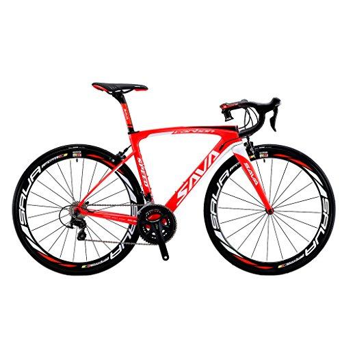 Vélos de Route Carbone, SAVA 700C Velo de Course Homme 22 Vitesses Shimano 105 5800 Group et Selle fizik Route (Rouge&Blanc, 520)
