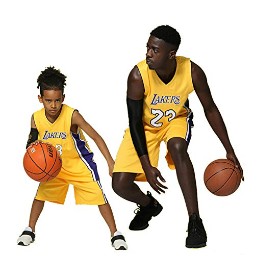 Enfants Garçons Filles Hommes Adulte NBA Lebron James #23 LBJ LA Lakers Rétro short et maillot Basketball Jersey Basket Maillots de basket Uniforme Top & Shorts 1 Set (Jaune (Yellow), S (enfants))