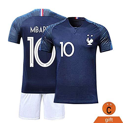 Fine Finet Maillots de Sport Garçon Football T-Shirt et Short France 2 Étoiles Vêtements de Football N° 10 Ensembles de Sport pour Enfant Garçon, Bleu