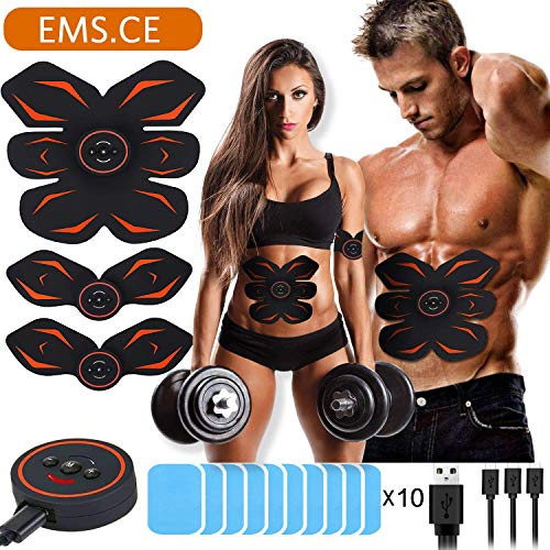 Morease Electrostimulateur Musculaire Entraînement Abdominal/Cuisse/Bras Muscle EMS Forme d'exercice Fitness,Ceinture Abdominale Electrostimulation USB Charge et 10 Coussinets de Gel