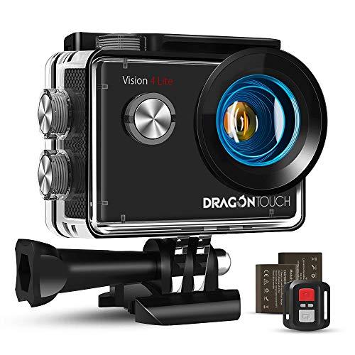 Caméra Sport 4K Ultra HD Wi-FI Dragon Touch Action Caméra 20 MP avec Télécommande Appareil Photo Étanche 30M 170 ° Grand-Angle avec 2 Pouces LCD 2 Batteries Rechargeables 1050mAh et Accessoires