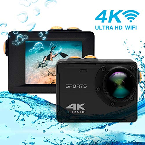 Caméra d'action 4K, Vmotal GSV8580 WiFi Ultra HD 16MP Caméra d'action étanche avec Objectif Grand Angle de 150 degrés, Caméra de Sport sous-Marin avec écran LCD de 2,0 Pouces