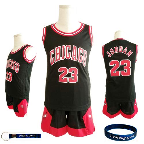 Daoseng Enfant garçon NBA Michael Jordan # 23 Chicago Bulls Short de Basket-Ball Retro Maillots d'été Uniforme de Basket-Ball Top & Shorts (Noir, M/Hauteur de l'enfant 130-140CM)