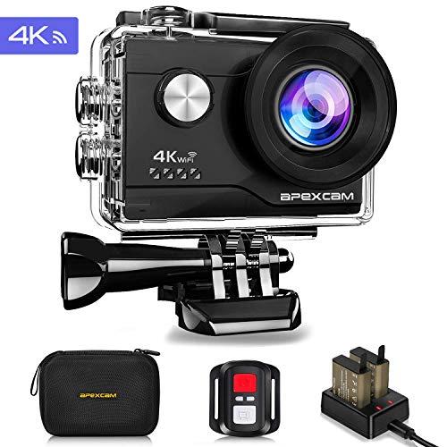 Apexcam 4K 16MP WiFi Caméra Sport sous-Marine 40M étanche Caméra de Sport Ultra HD 170 ° Télécommande Grand Angle 2.4G 2 Piles Rechargeables 1200mAh 2.0 '' Ecran LCD et kit d'accessoires