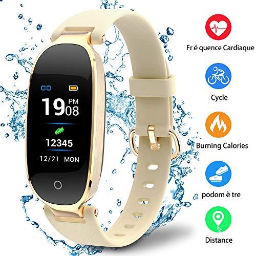 Montre Connectée Sport Fitness Tracker d'Activité Montre Étanche IP67 Bracelet Intelligent Podomètre Calories Sommeil-pour Femme Homme Sport/Android et iOS Portable (Or)