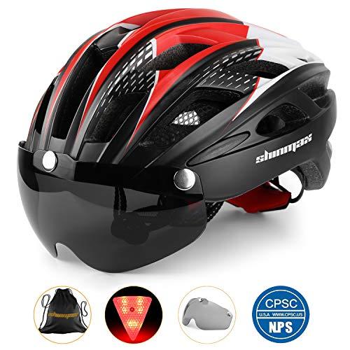 Casque de vélo avec éclairage LED, casque de vélo avec éclairage de sécurité Casque de vélo magnétique et écran amovible Planche à roulettes ski & snowboard (noir rouge blanc)