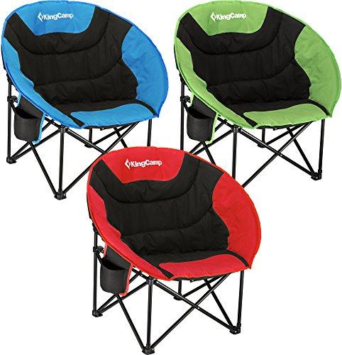 KingCamp Moon Leisure Camping Chaise avec Porte-Tasse en Acier Cadre Pliant rembourré Ronde et Portable Stable avec Sac de Transport pour Les activités de Plein air