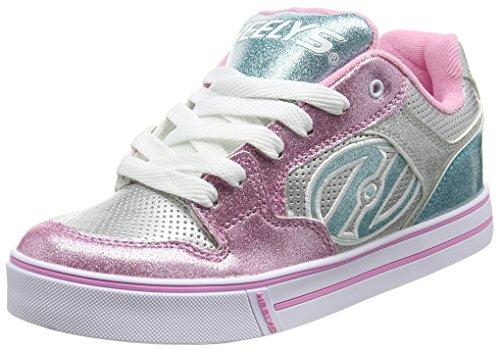 Heelys Motion Plus, Chaussures de Tennis Fille, Argent (Silver Pink/Light Blue), 36.5 EU