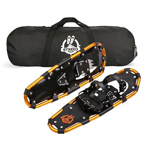 ENKEEO Raquettes à Neige Noir et Orange Suporter Jusqu'à 95 KG Taille a Choix (76CM: 72-95KG)