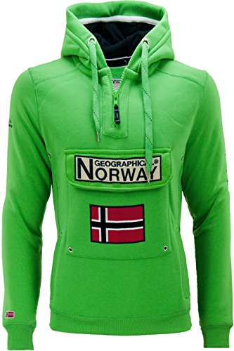 Geographical Norway Gymclass Pull à Capuche Hommes - Vert - Medium