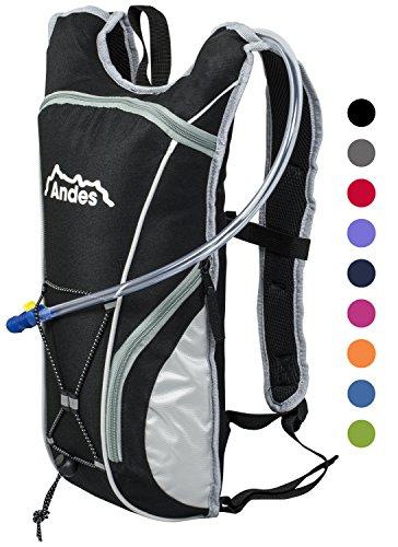 Andes - Sac à dos avec poche à eau - pour cyclisme - poche à eau de 2 L - Noir