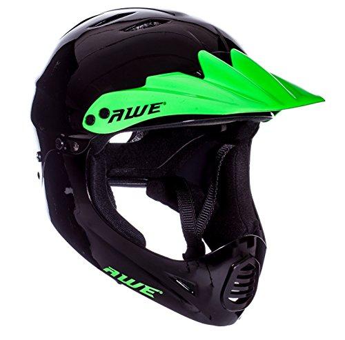 Casque intégral de BMX Awe - Couleur noire et verte - 54-58cm