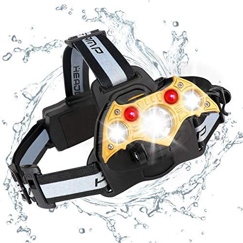 LED Lampe Frontale Puissante, Torche Rechargeable, 5 modes super lumineux 6000 lumens pour le camping randonnée pêche course à pied, phares USB SOS Whistle lumière de la tête,Etanche, Antichoc (5 LED)