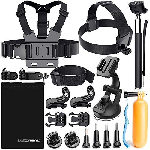 LUSCREAL Accessoires pour Gopro, Action Caméras Accessoires pour Go Pro Hero 7 Hero 2018 Hero 6 5 4 3 2 1 Hero Session 5 Black AKASO EK7000 Apeman et La Plupart des Caméras de Sport