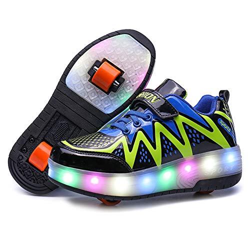 Enfants led chaussures à roulettes double roue chaussures de sport technique extérieur de skateboard extensible clignotant gymnastique baskets garçons filles,Black,33EU