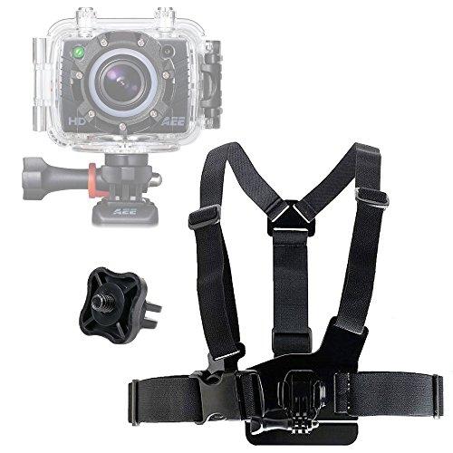 Harnais de poitrine + adaptateur vis de filetage 1/4' compatible avec caméras embarquées PNJ, Sony, Géonaute, Rollei, TecTecTec, Excelvan, DBPOWER et autres – par DURAGADGET