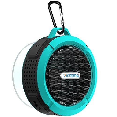 [New Version] VicTsing Mini Enceinte Portable sans fil Etanche Haut-parleur Bluetooth V3.0 Rechargeable 5W 145g IPX5 Anti-Choc/Neige/Poussière + A2DP CISS Haut-parleur Stéréo Kit Mains Libres et Micro Intégré avec Ventouse Compatible avec...
