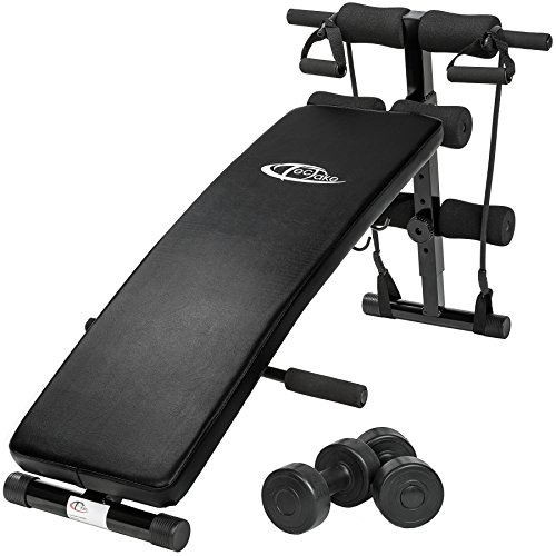 TecTake Banc de musculation -Dimensions totales (LxHxB): environ 129 x 70 x 55 cm - pour muscles abdominaux appareil de fitness sport + 2 haltères + 2 cordes de formation pliable