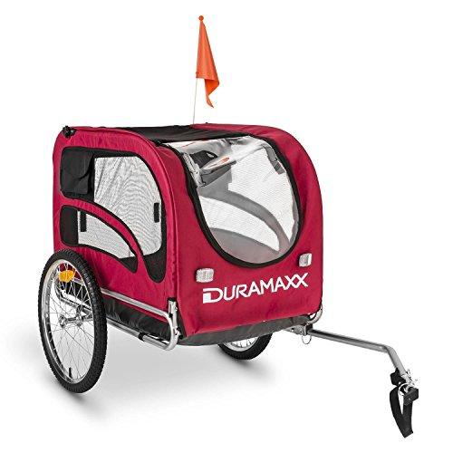 Duramaxx King Rex Remorque à vélo pour Transport d'animaux Attelage pour Chien (contenance 250 L, Charge maximale 40 kg, fanions, Structure en Acier) - Rouge