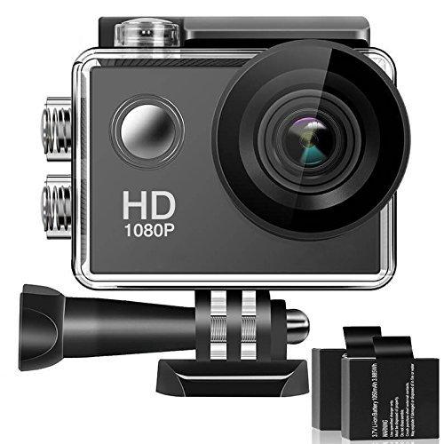 Caméra Sport, Caméra d'action Étanche 30M 170°Grand-Angle 2 Batteries et Inclut 16 Kits Complets d'Accessoires