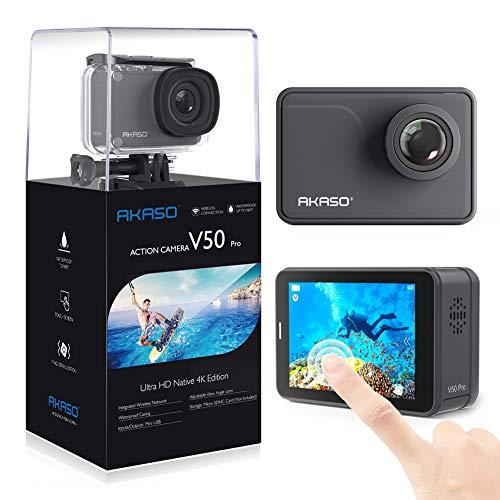 AKASO Caméra Sport Etanche 4k Wifi 20MP, Action Cam 30fps, Caméscope Ultra HD EIS, Écran LCD Tactile, Grand Angle 170°, 30M Sous-Marine, 2 Batteries 1050mAh & Télécommande & Kits d'Accessoires