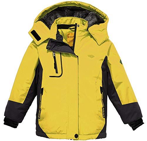 Wantdo Fille Anorak de Ski à Capuche Ski avec Doublure Imperméable Veste de Pluie Parka d'hiver Jaune 8