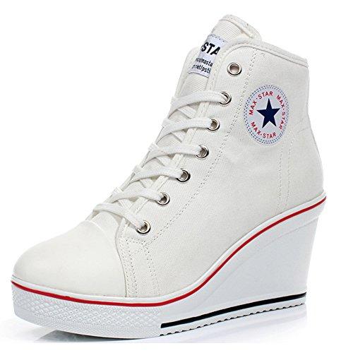 PADGENE Baskets Mode Compensées Montante Sneakers Tennis Chaussures Casuel Toile Femme(Blanc,37)