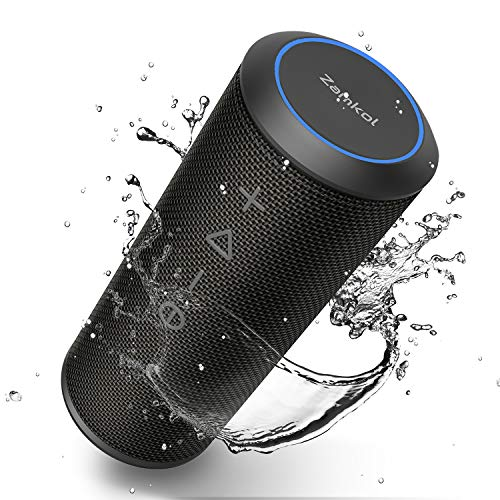Zamkol Enceinte Bluetooth Portable, Waterproof Haut-Parleur Bluetooth Enceinte sans Fil 24W, 360° HD Bass Pilote Double, Bluetooth 4.2, étanche IPX6, Mains Libres Téléphone et Technologie TWS