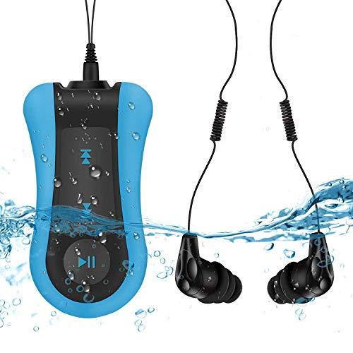 AGPTEK Lecteur Mp3 Etanche S12, Version Nouvelle Mp3 Waterproof 8Go IPX8 pour Natation(Piscine) et Sports-Bleu