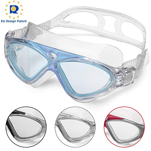 Lunettes de Natation,Lunettes de Piscine Adultes Transparents Antibuée Etanches Protection UV Réglables Vision 180 Degrés - Idéales pour Hommes et Femmes (Blue/Clear Lens)