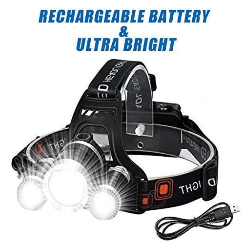 Wesho Lampe Frontale LED Rechargeable avec 3 lumières 4 Modes, 6000 lumens, Lampe Frontale LED Super Lumineuse, Lampe Torche Mains Libres pour Course à Pied, Camping, pêche, Cyclisme, randonnée