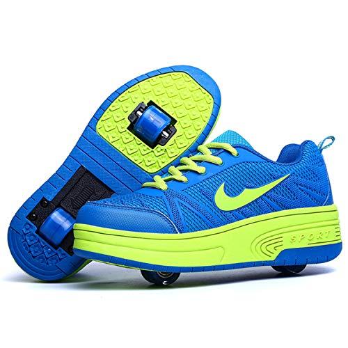 Wasnton Garçons Filles Chaussures à roulettes 1Roue/2 Roues Respirant Patins à roulettes pour Unisexe Enfants Retractable Basket a Roulette