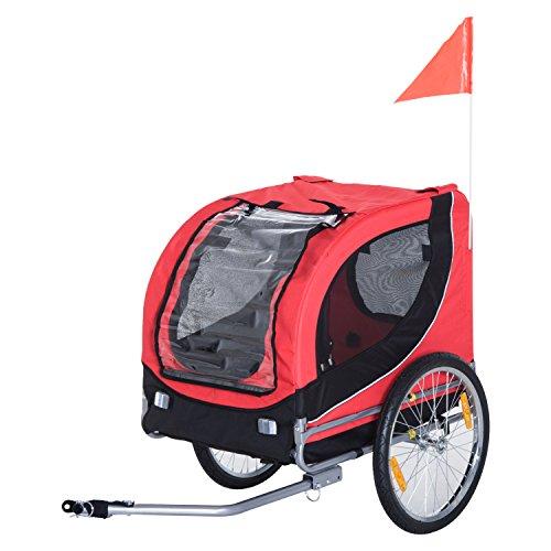 Homcom Remorque velo pour chien animaux avec 8 reflecteurs drapeau rouge noir