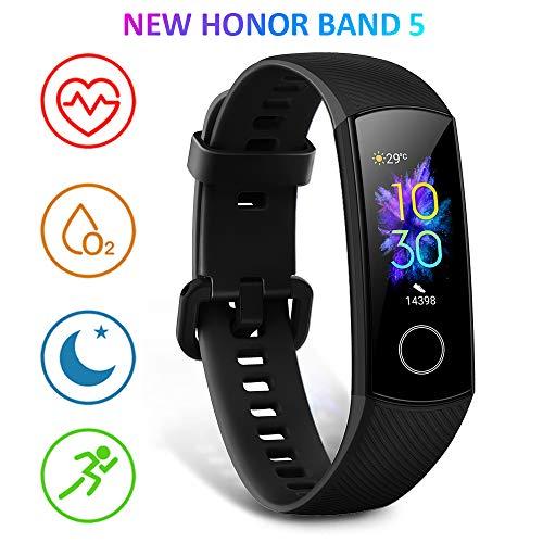 HONOR Band 5 Montre Connectée Podometre Cardio Montre Intelligente Bracelet Connecté 5ATM Résistance à l'eau Smart Watch Android iOS Smartband, Noir