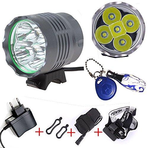 YaFire Lampe torche frontale à LED /Lampe avant Phare avant pour vélo / Eclairage Avant Vélo / Enduro éclairage avant 5 × CREE XM-L T6 6000 Lumens rechargeable étanche de 3 mode de lumière + Batterie 6* 18650 Batteries Inclus + Chargeur &...