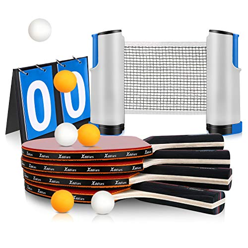Xddias Raquette de Ping Pong Set, 4 Raquette de Tennis de Table + Rétractable Filet de Table Tennis + Carte de Pointage +8 Balle, Set de Tennis de Table pour Débutants et Joueurs Avancés