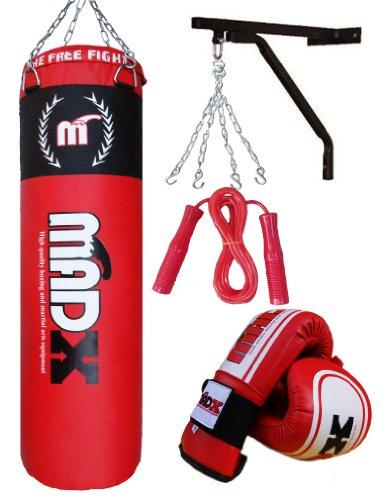 Lots de 5 pièces pour boxeur avec sac de frappe de boxe garni 1,5m, support, chaîne, gants, corde à sauter - MADX
