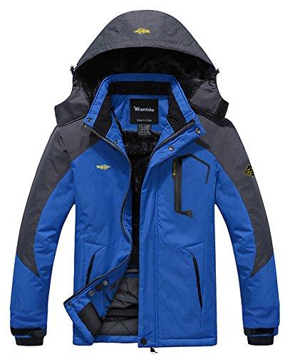 Wantdo Homme Anorak Veste Coupe-Vent d'hiver Manteau Imperméable Étanche à Capuche Coupe-Pluie Sportif Bleu Ciel Medium