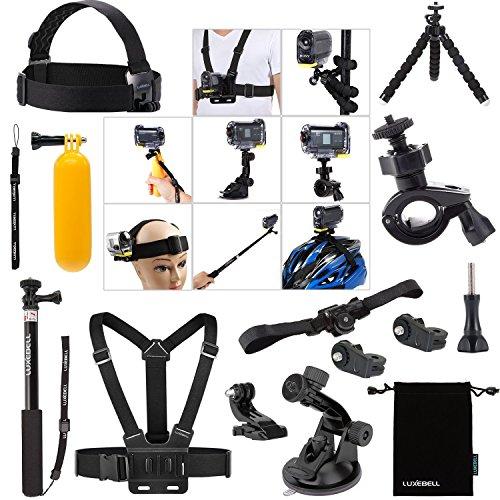 Luxebell Kit 14in1 accessoires Bundle pour Sony Action Cam HDR-AS15 / AS20 / AS30V / AS100V / AS200V / Sony Action Cam HDR-AZ1 Mini Sony FDR-X1000V / W caméras 4K, télescopable Manfrotto Helmet Strap mont + poche Pole + ceinture pectorale mont...