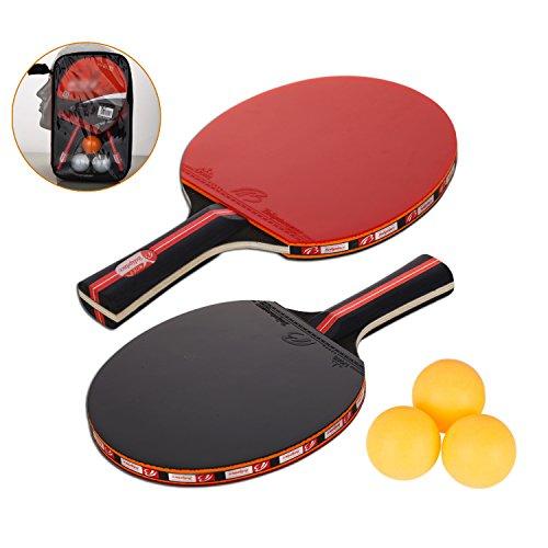 Amaza Raquette De Ping Pong Professionnel avec Sac Portable - 2 Pieces Raquettes de Tennis de Table en Caoutchouc Premium Double Face + 3 Balles pour Les Formateurs, Amateurs, Débutants, Expert