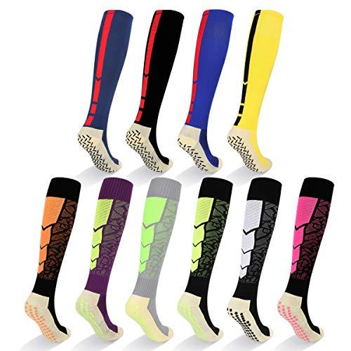 YUEDGE Chaussettes de Football pour Homme Antidérapant Chaussettes de Sport Basketball, Football, randonnée, Course à Pied