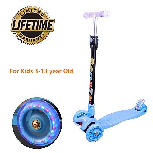 Trottinette 3 Roues Scooter pour Enfants, Hauteur Ajustable sur 4, à Rouler avec LED Roues pour Enfants de 3 à 13 Ans, Patins Lisses et Stables