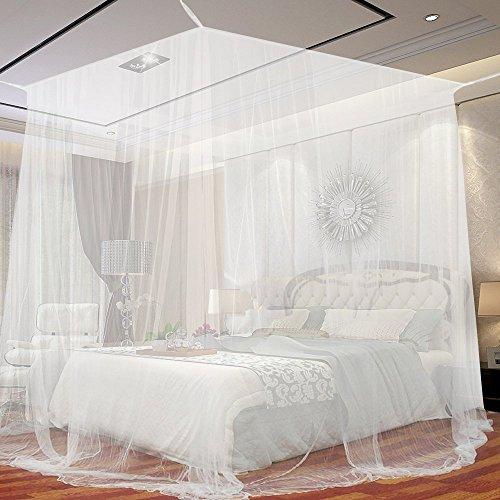 Moustiquaire Baldaquin pour Lits Doubles, JTDEAL Grand Moustiquaire en Polyester Moustiquaire un Répulsif pour les Insectes avec les Outils d'installation (W *L*H,190*210*240cm)