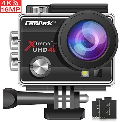 Campark Caméra Sport 4K 16MP WiFi Caméra d'action Étanche 30M avec 2 Batteries et Kit d'Accessoires