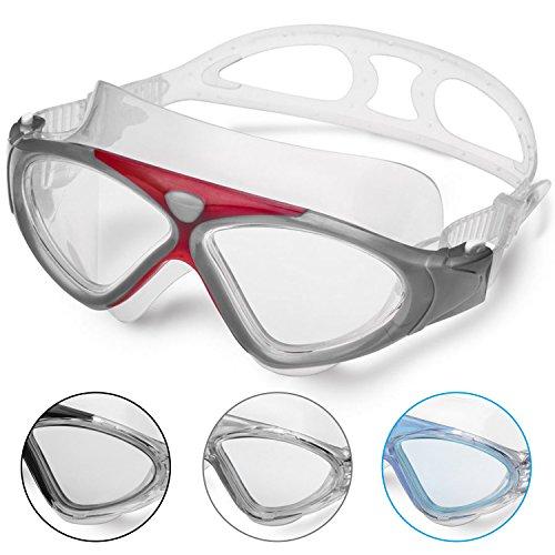 Lunettes de Natation - Lunettes de Piscine Adultes Transparents Antibuée Etanches Protection UV Réglables Vision 180 Degrés - Idéales pour Hommes et Femmes (New-R)
