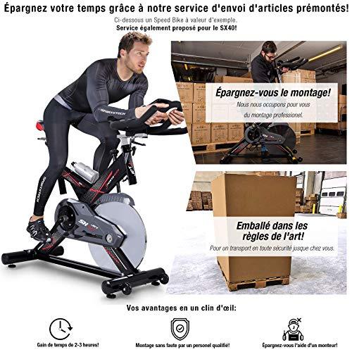 Vélo d'Appartement ergomètre SX400 - Commande par Application Smartphone, Poids d'inertie 22 KG, Supports pour Bras, cardiofréquencemètre, Vélo de cardiotraining (SX400 prémonté)