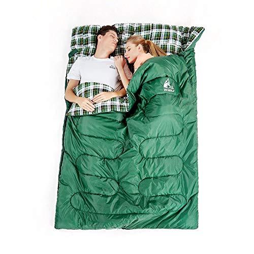 Sac de Couchage Double Grand Froid - Détachable Sac de Couchage 2 Personnes Adulte 3 Saisons de Flanelle de Coton, Confortable et Chaud pour Camping, 145 * 220cm, Température Confort :5-15℃