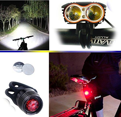 E-FUN Lampe Frontale LED Phare Lampe Torche Avant Vélo, 4 Modes De Luminosité, 5000lm, Phare Lampe Bicyclette Et Feu Arrière, pour VTT VTC Cycliste Camping Loisir & LED Phare arrière Velo